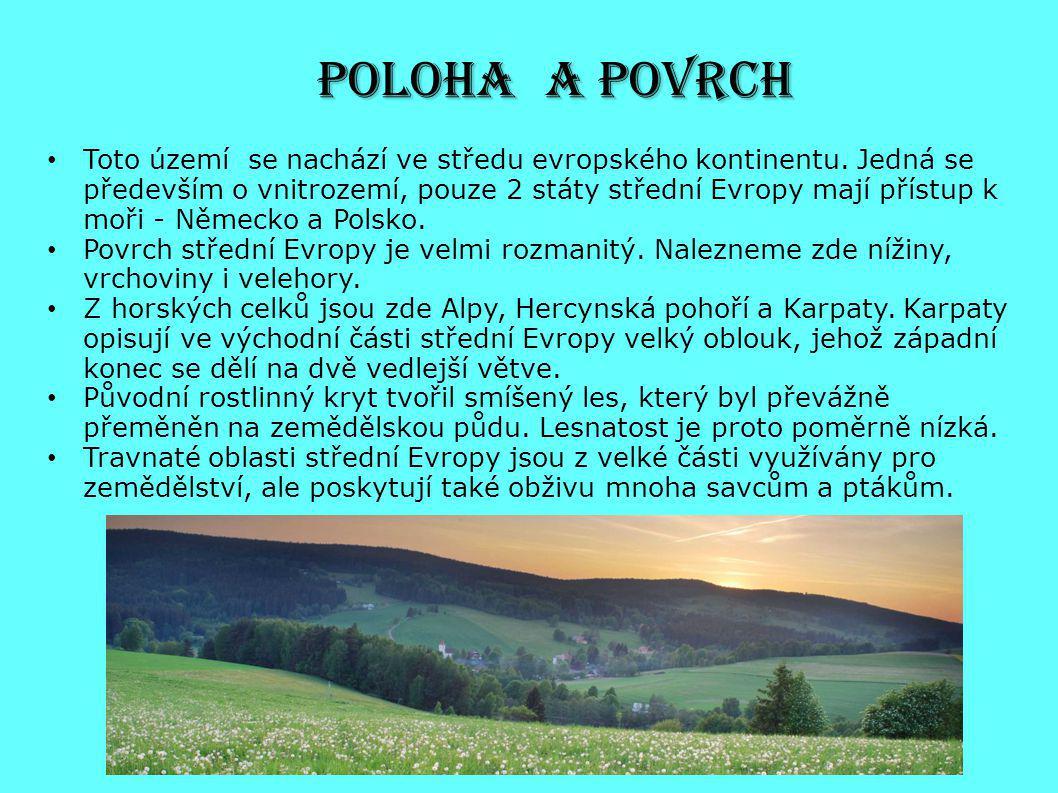POLOHA A POVRCH Toto území se nachází ve středu evropského kontinentu. Jedná se především o vnitrozemí, pouze 2 státy střední Evropy mají přístup k mo