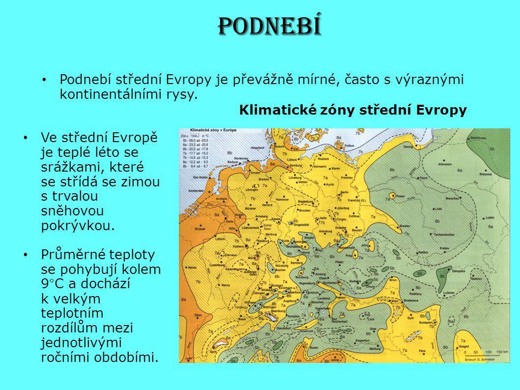 Ve střední Evropě je teplé léto se srážkami, které se střídá se zimou s trvalou sněhovou pokrývkou. Průměrné teploty se pohybují kolem 9°C a dochází k