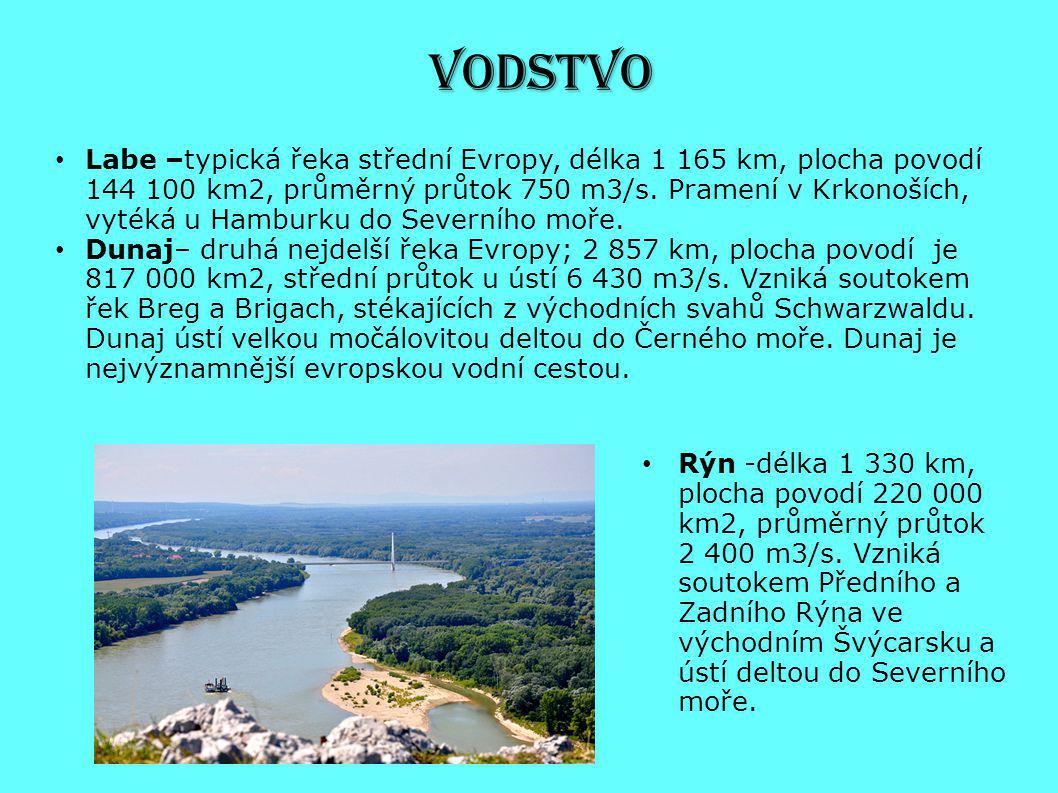 VODSTVO Rýn -délka 1 330 km, plocha povodí 220 000 km2, průměrný průtok 2 400 m3/s. Vzniká soutokem Předního a Zadního Rýna ve východním Švýcarsku a ú