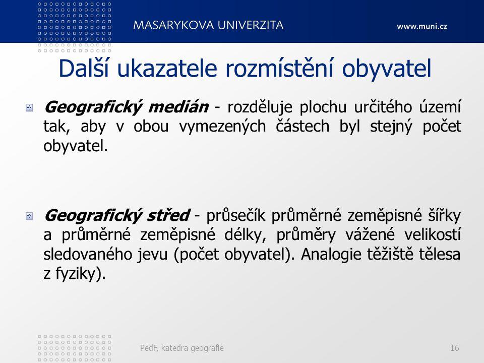 PedF, katedra geografie16 Další ukazatele rozmístění obyvatel Geografický medián - rozděluje plochu určitého území tak, aby v obou vymezených částech