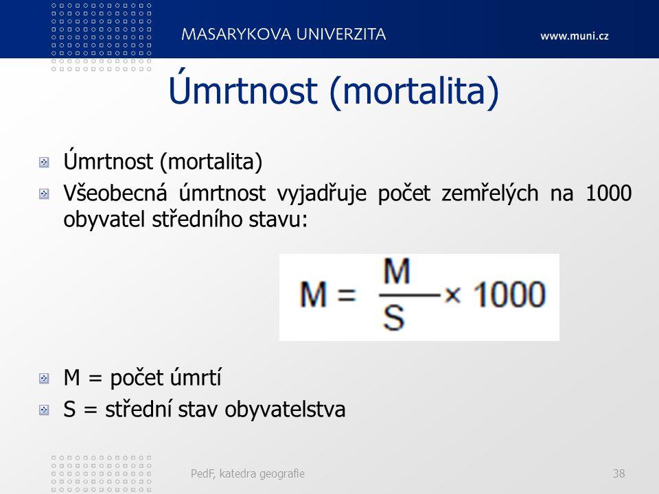 PedF, katedra geografie38 Úmrtnost (mortalita) Všeobecná úmrtnost vyjadřuje počet zemřelých na 1000 obyvatel středního stavu: M = počet úmrtí S = stře
