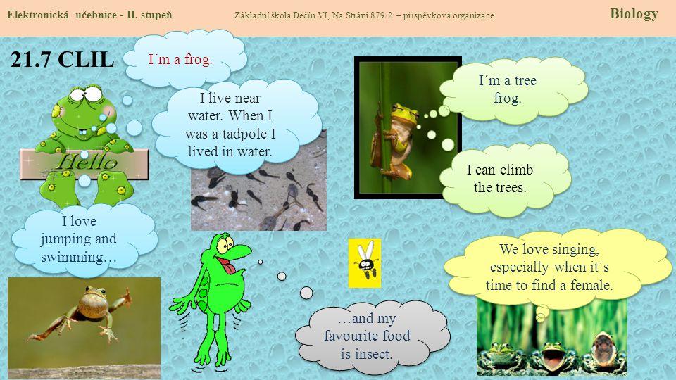 21.7 CLIL Elektronická učebnice - II. stupeň Základní škola Děčín VI, Na Stráni 879/2 – příspěvková organizace Biology I´m a frog. I live near water.