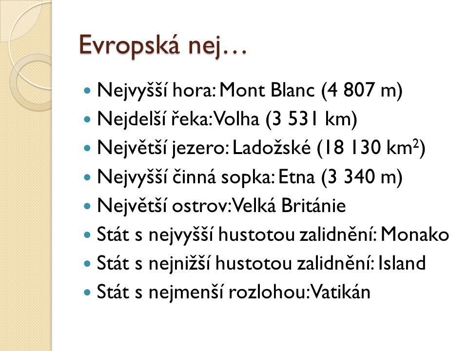 Evropská nej… Nejvyšší hora: Mont Blanc (4 807 m) Nejdelší řeka: Volha (3 531 km) Největší jezero: Ladožské (18 130 km 2 ) Nejvyšší činná sopka: Etna (3 340 m) Největší ostrov: Velká Británie Stát s nejvyšší hustotou zalidnění: Monako Stát s nejnižší hustotou zalidnění: Island Stát s nejmenší rozlohou: Vatikán