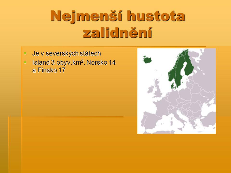 Nejmenší hustota zalidnění  Je v severských státech  Island 3 obyv.km 2, Norsko 14 a Finsko 17
