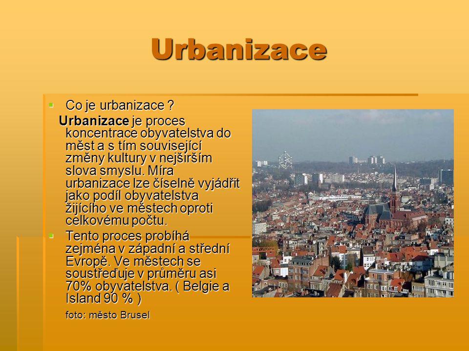 Urbanizace  Co je urbanizace ? Urbanizace je proces koncentrace obyvatelstva do měst a s tím související změny kultury v nejširším slova smyslu. Míra
