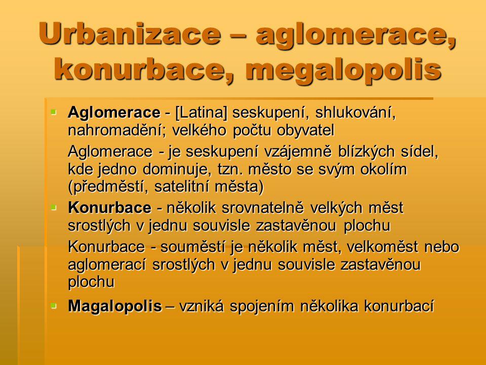 Urbanizace – aglomerace, konurbace, megalopolis  Aglomerace - [Latina] seskupení, shlukování, nahromadění; velkého počtu obyvatel Aglomerace - je ses