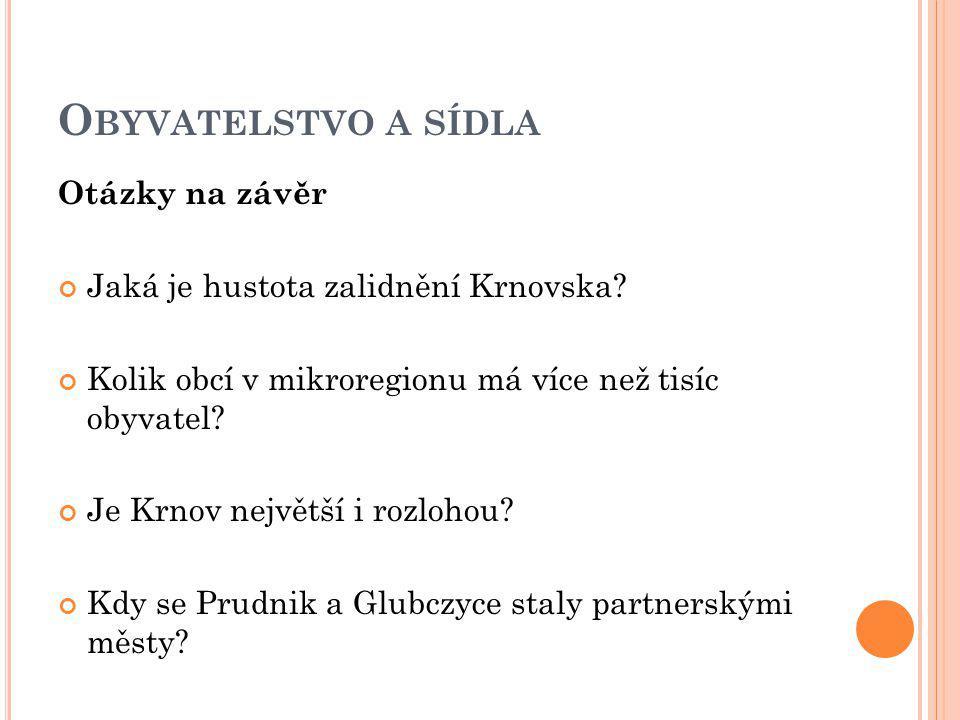 O BYVATELSTVO A SÍDLA Otázky na závěr Jaká je hustota zalidnění Krnovska.