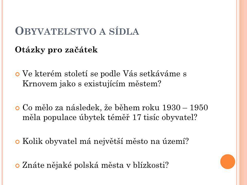 O BYVATELSTVO A SÍDLA Otázky pro začátek Ve kterém století se podle Vás setkáváme s Krnovem jako s existujícím městem.