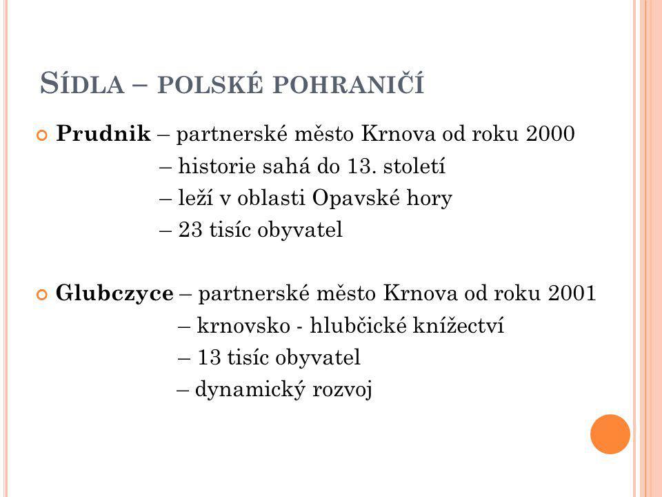 S ÍDLA – POLSKÉ POHRANIČÍ Prudnik – partnerské město Krnova od roku 2000 – historie sahá do 13. století – leží v oblasti Opavské hory – 23 tisíc obyva
