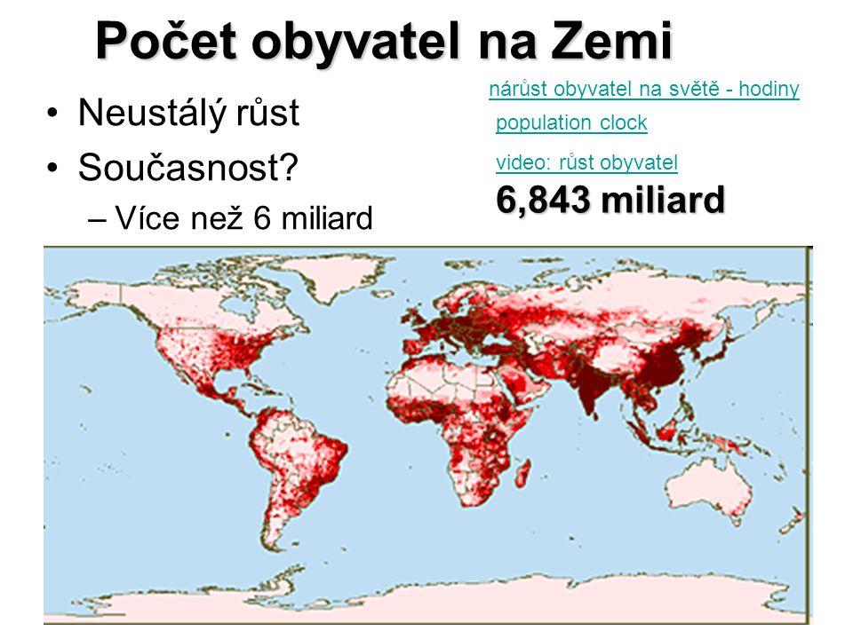Počet obyvatel na Zemi Neustálý růst Současnost? –Více než 6 miliard population clock nárůst obyvatel na světě - hodiny 6,843 miliard video: růst obyv