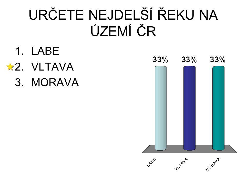 URČETE NEJDELŠÍ ŘEKU NA ÚZEMÍ ČR 1.LABE 2.VLTAVA 3.MORAVA