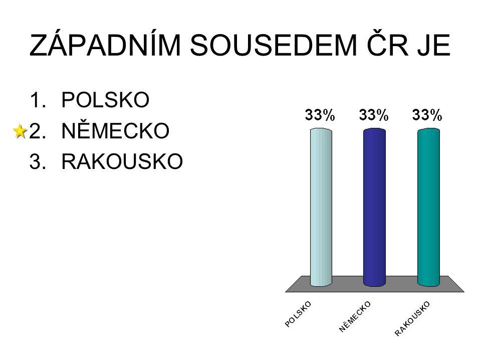 ZÁPADNÍM SOUSEDEM ČR JE 1.POLSKO 2.NĚMECKO 3.RAKOUSKO