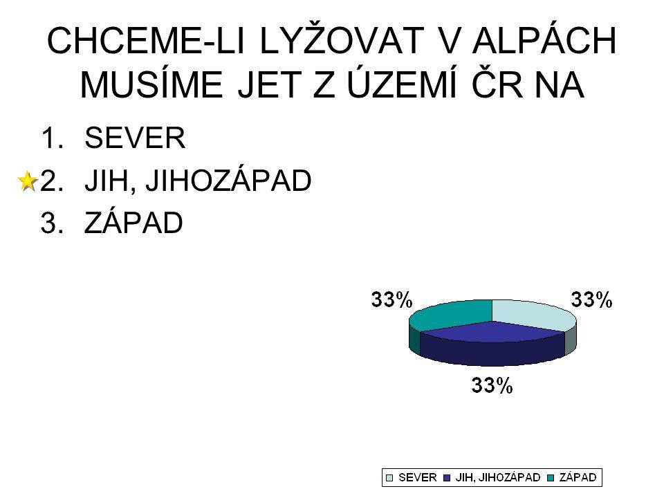 CHCEME-LI LYŽOVAT V ALPÁCH MUSÍME JET Z ÚZEMÍ ČR NA 1.SEVER 2.JIH, JIHOZÁPAD 3.ZÁPAD