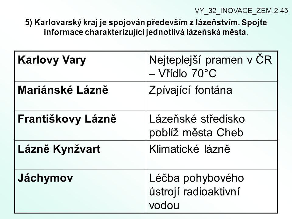 5) Karlovarský kraj je spojován především z lázeňstvím. Spojte informace charakterizující jednotlivá lázeňská města. Karlovy VaryNejteplejší pramen v