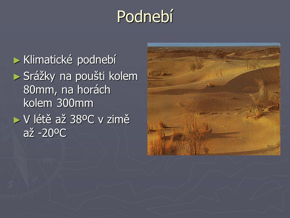 Podnebí ► Klimatické podnebí ► Srážky na poušti kolem 80mm, na horách kolem 300mm ► V létě až 38ºC v zimě až -20ºC