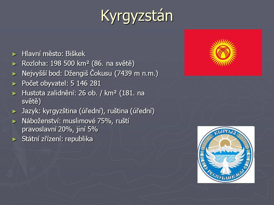 Kyrgyzstán ► Hlavní město: Biškek ► Rozloha: 198 500 km² (86.