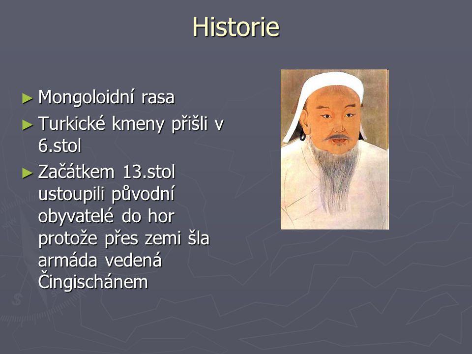 Historie ► Mongoloidní rasa ► Turkické kmeny přišli v 6.stol ► Začátkem 13.stol ustoupili původní obyvatelé do hor protože přes zemi šla armáda vedená Čingischánem