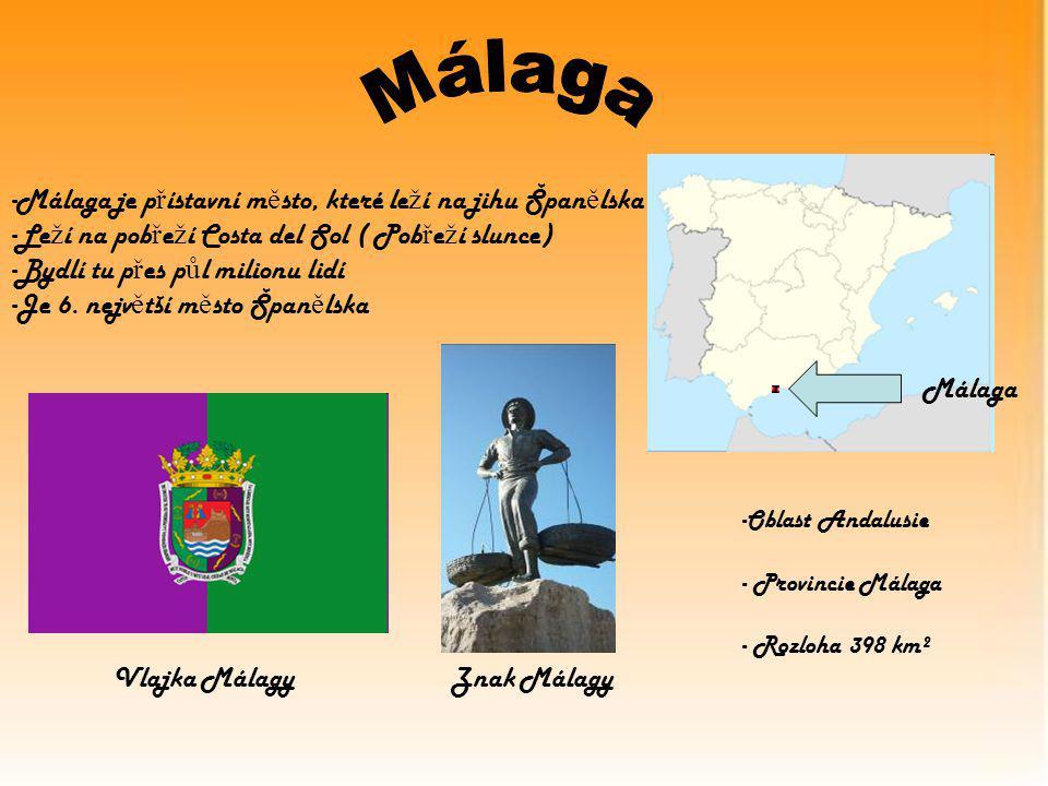 Málaga -Málaga je p ř ístavní m ě sto, které le ž í na jihu Špan ě lska -Le ž í na pob ř e ž í Costa del Sol ( Pob ř e ž í slunce) -Bydlí tu p ř es p ů l milionu lidí -Je 6.