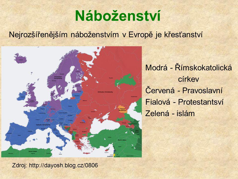Náboženství Modrá - Římskokatolická církev Červená - Pravoslavní Fialová - Protestantsví Zelená - islám Zdroj: http://dayosh.blog.cz/0806 Nejrozšířeně