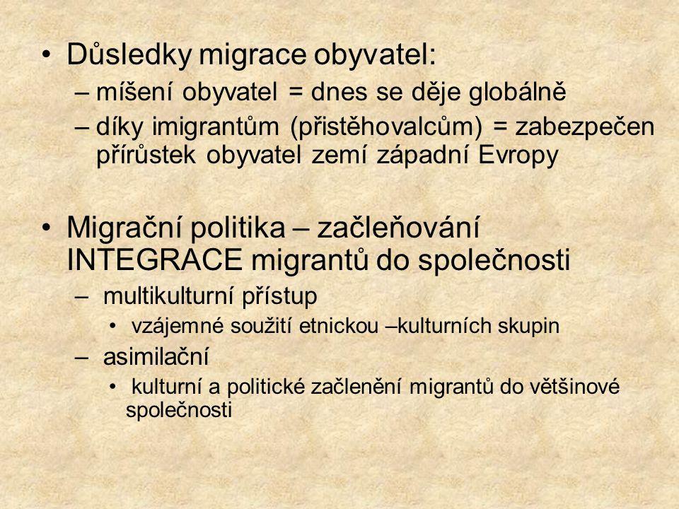 Důsledky migrace obyvatel: –míšení obyvatel = dnes se děje globálně –díky imigrantům (přistěhovalcům) = zabezpečen přírůstek obyvatel zemí západní Evr
