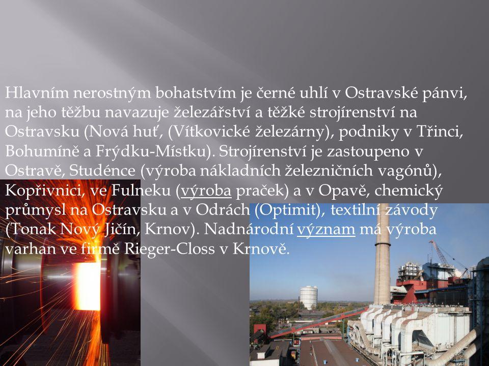 Hlavním nerostným bohatstvím je černé uhlí v Ostravské pánvi, na jeho těžbu navazuje železářství a těžké strojírenství na Ostravsku (Nová huť, (Vítkov