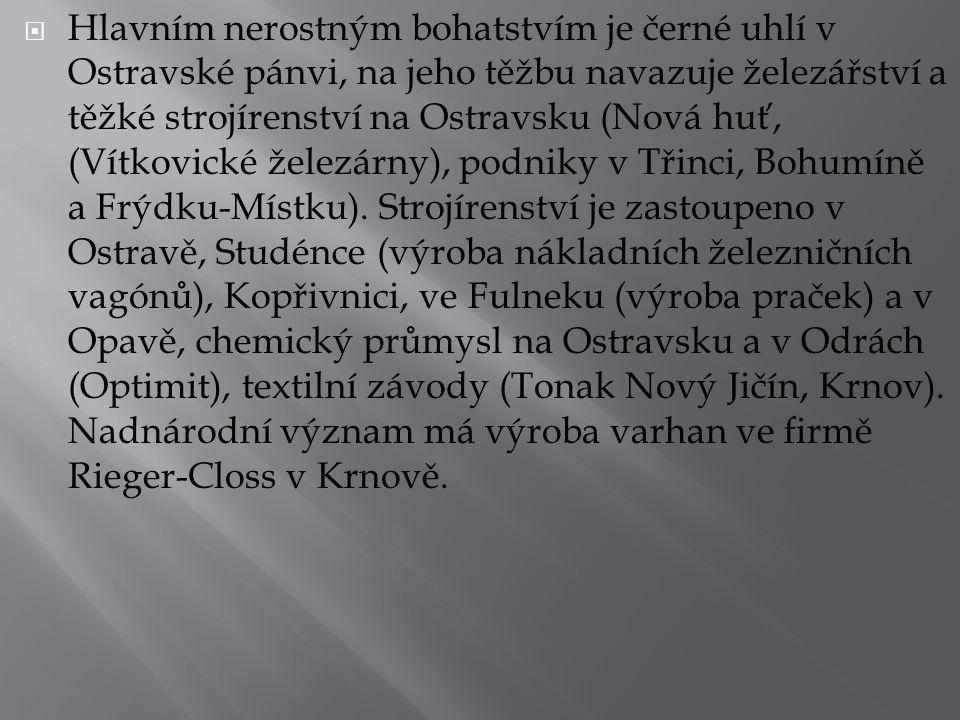  Hlavním nerostným bohatstvím je černé uhlí v Ostravské pánvi, na jeho těžbu navazuje železářství a těžké strojírenství na Ostravsku (Nová huť, (Vítk