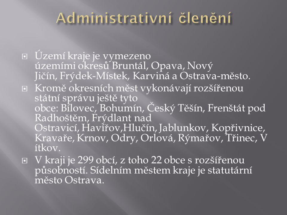  Území kraje je vymezeno územími okresů Bruntál, Opava, Nový Jičín, Frýdek-Místek, Karviná a Ostrava-město.  Kromě okresních měst vykonávají rozšíře