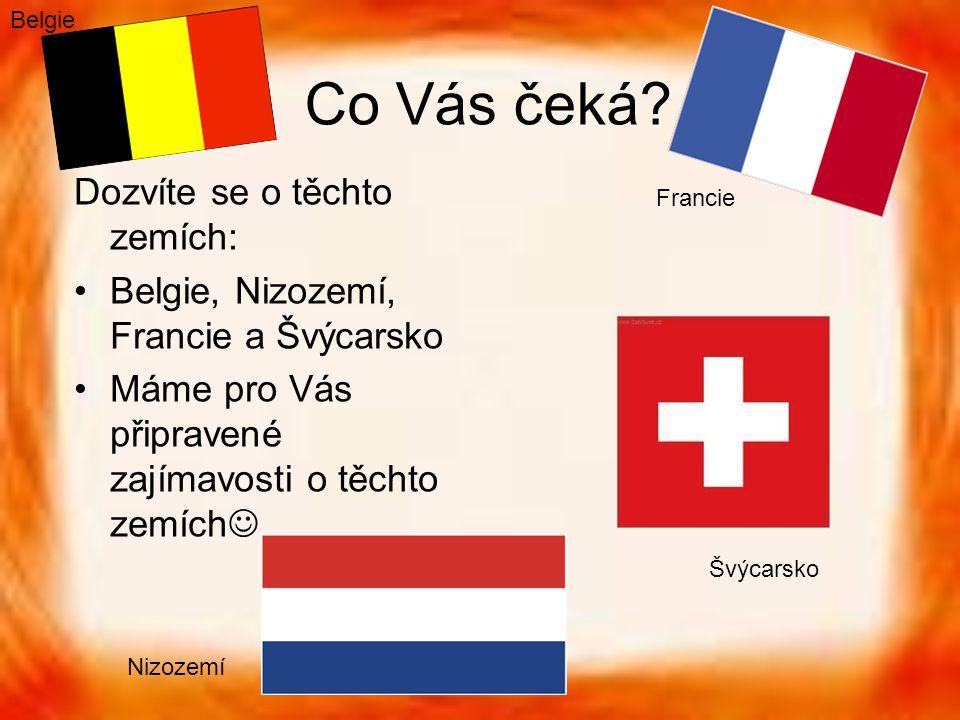 Co Vás čeká? Dozvíte se o těchto zemích: Belgie, Nizozemí, Francie a Švýcarsko Máme pro Vás připravené zajímavosti o těchto zemích Belgie Francie Nizo