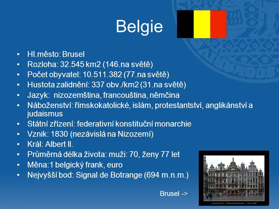 Belgie Hl.město: Brusel Rozloha: 32.545 km2 (146.na světě) Počet obyvatel: 10.511.382 (77.na světě) Hustota zalidnění: 337 obv./km2 (31.na světě) Jazy