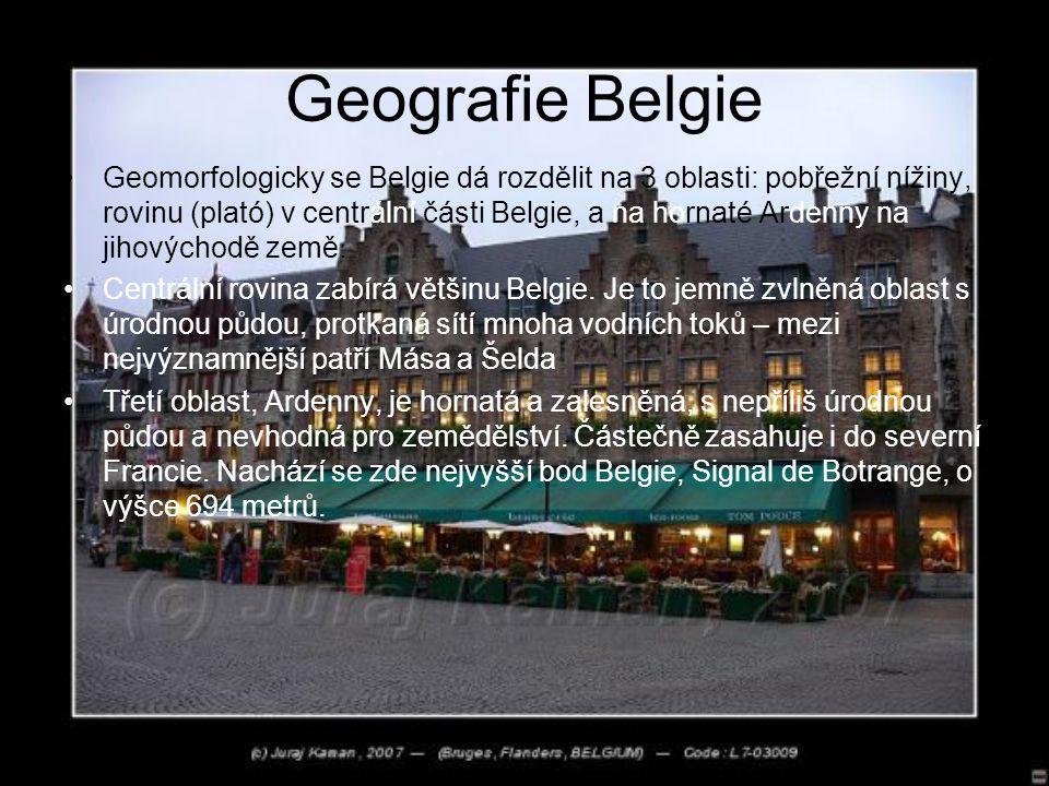 Geografie Belgie Geomorfologicky se Belgie dá rozdělit na 3 oblasti: pobřežní nížiny, rovinu (plató) v centrální části Belgie, a na hornaté Ardenny na