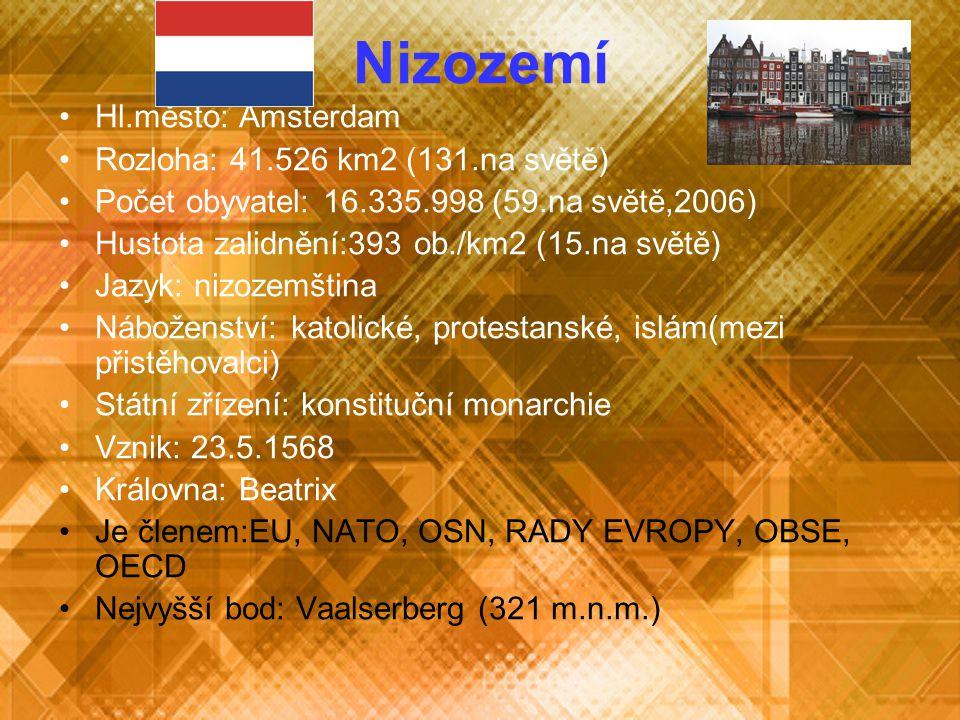Nizozemí Hl.město: Amsterdam Rozloha: 41.526 km2 (131.na světě) Počet obyvatel: 16.335.998 (59.na světě,2006) Hustota zalidnění:393 ob./km2 (15.na svě