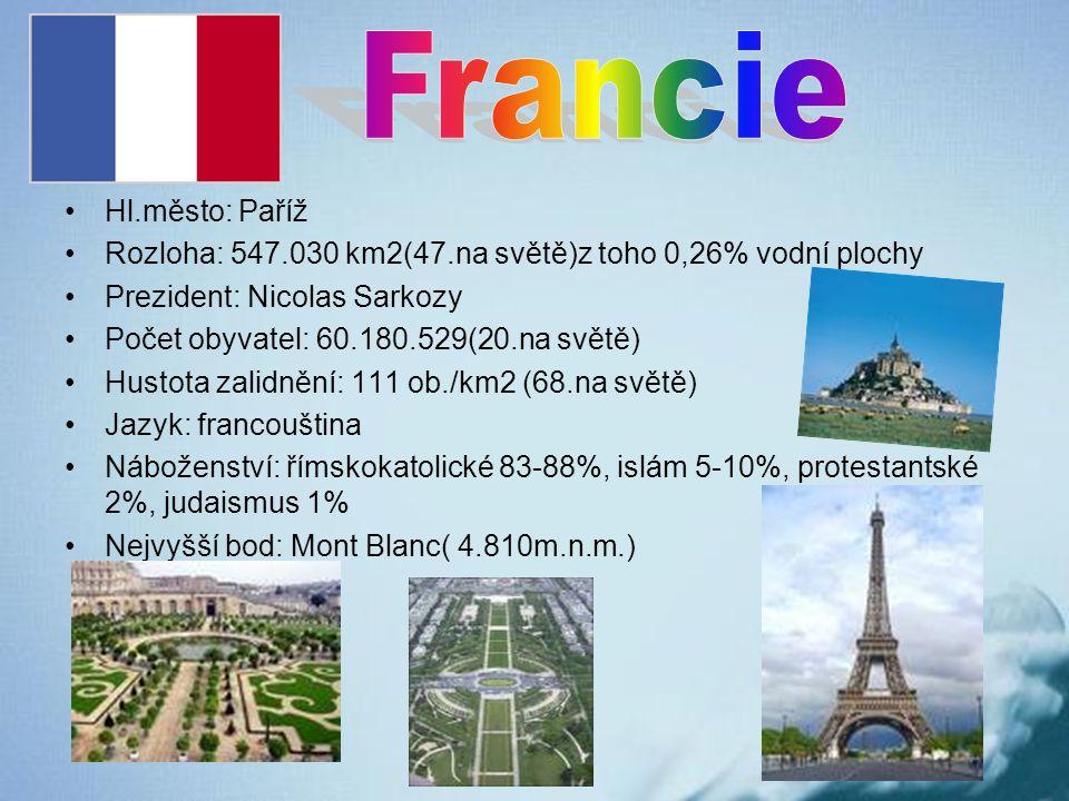 Hl.město: Paříž Rozloha: 547.030 km2(47.na světě)z toho 0,26% vodní plochy Prezident: Nicolas Sarkozy Počet obyvatel: 60.180.529(20.na světě) Hustota
