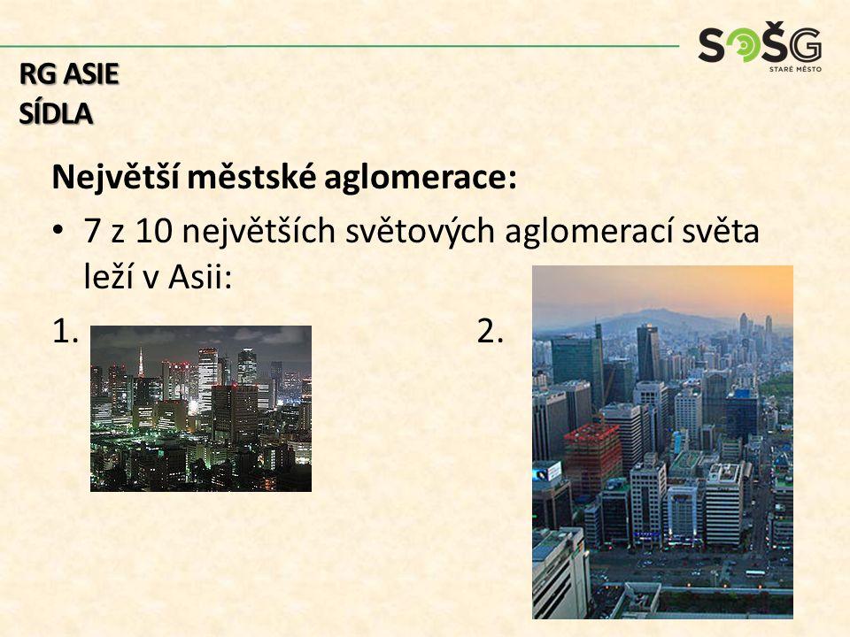 Největší městské aglomerace: 7 z 10 největších světových aglomerací světa leží v Asii: 1.2. RG ASIE SÍDLA