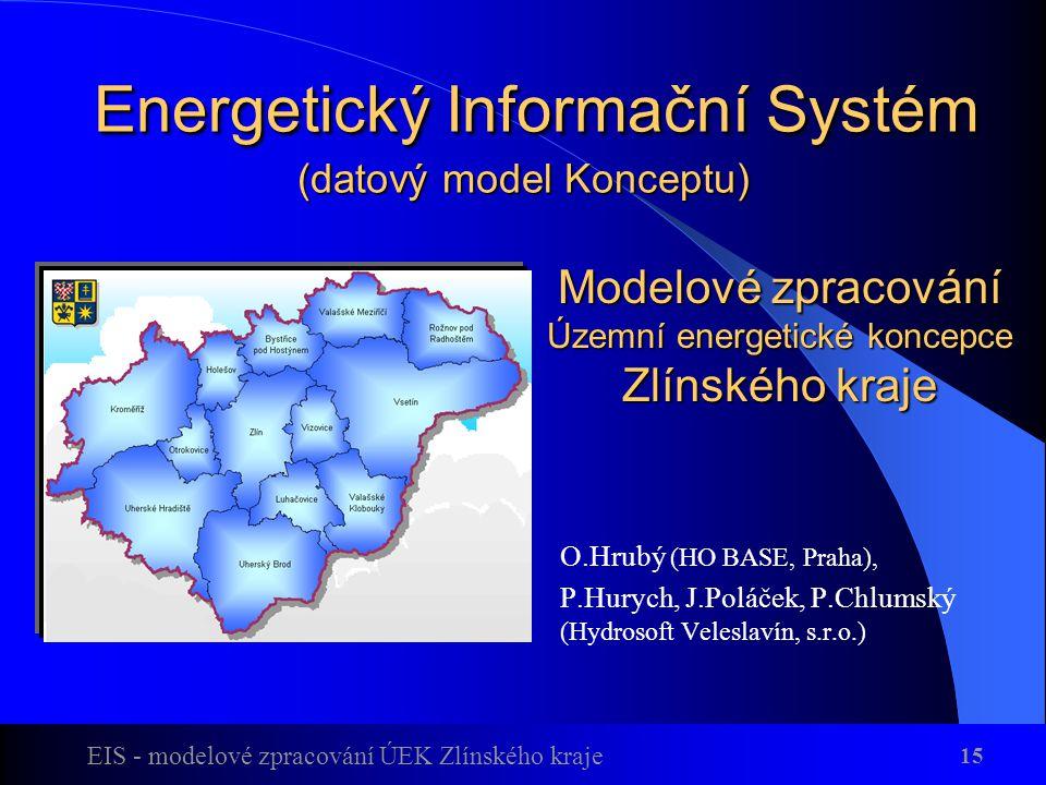 EIS - modelové zpracování ÚEK Zlínského kraje 15 Energetický Informační Systém (datový model Konceptu) Energetický Informační Systém (datový model Konceptu) O.Hrubý (HO BASE, Praha), P.Hurych, J.Poláček, P.Chlumský (Hydrosoft Veleslavín, s.r.o.) Modelové zpracování Územní energetické koncepce Zlínského kraje