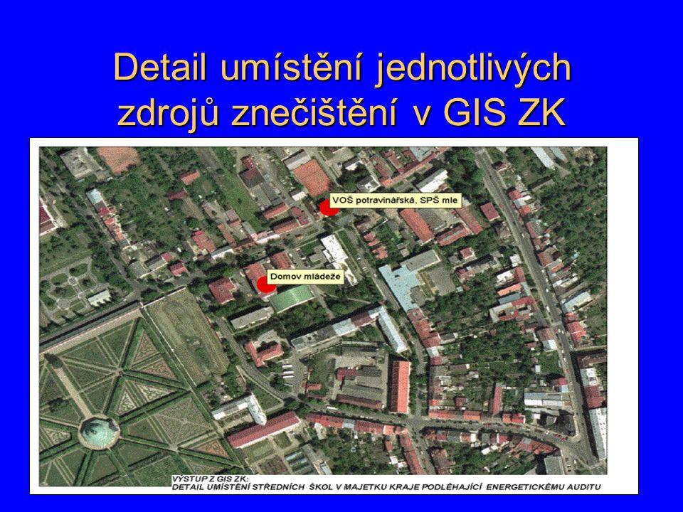 Detail umístění jednotlivých zdrojů znečištění v GIS ZK