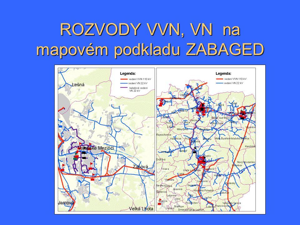 ROZVODY VVN, VN na mapovém podkladu ZABAGED