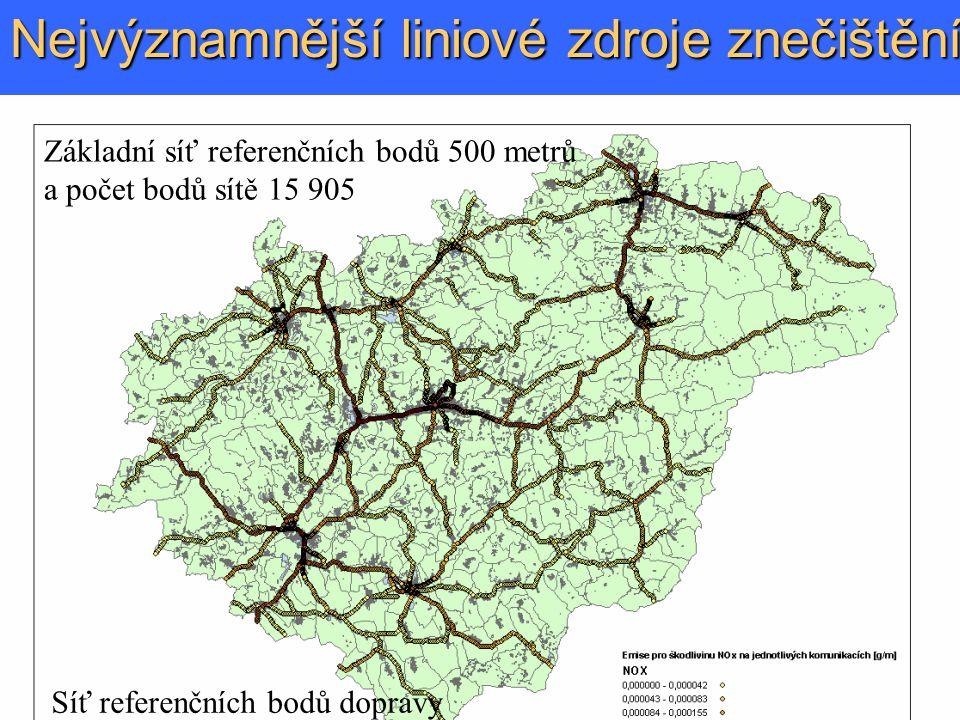 Nejvýznamnější liniové zdroje znečištění Základní síť referenčních bodů 500 metrů a počet bodů sítě 15 905 Síť referenčních bodů dopravy 200 m počet bodů sítě 23 146