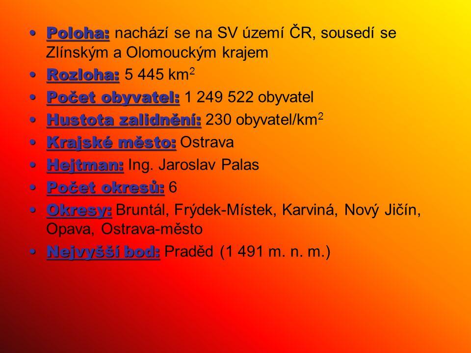 Poloha:Poloha: nachází se na SV území ČR, sousedí se Zlínským a Olomouckým krajem Rozloha:Rozloha: 5 445 km 2 Počet obyvatel:Počet obyvatel: 1 249 522