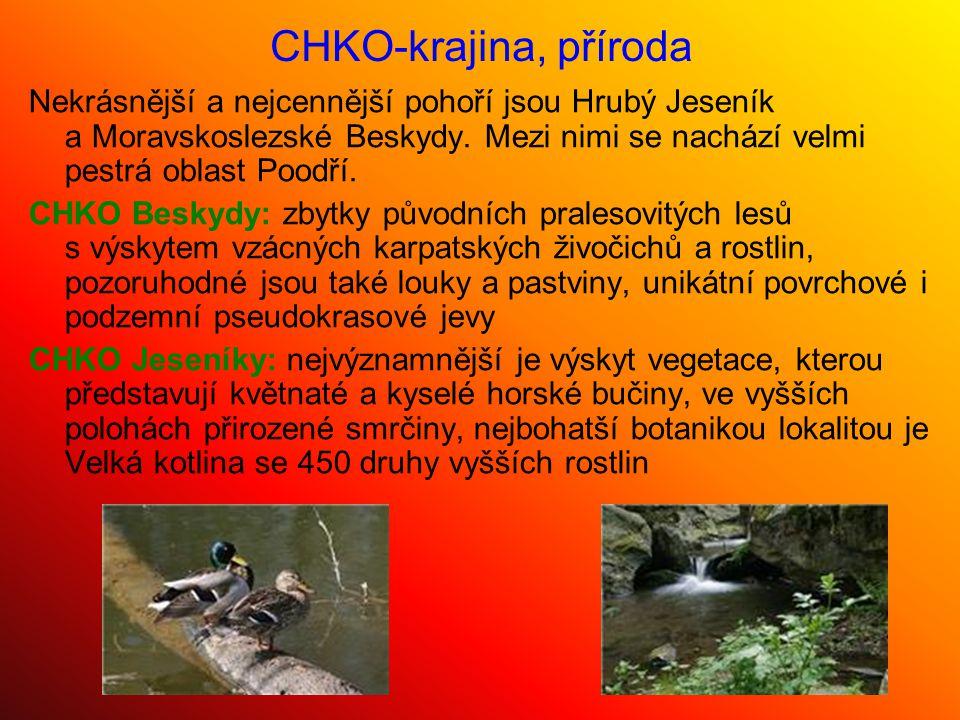 CHKO Poodří: typické a ojedinělé je zachovalým vodním režim s každoročním zaplavováním rozsáhlých částí nivy, největší hodnoty představují meandry a slepá ramena Odry, množství travních porostů, lužní lesy a rybniční soustavy Ostatní přírodní zajímavosti - národní přírodní rezervaci Rešovské vodopády - národní přírodní památku jeskyně Šipka ve Štramberku - přírodní park Hradní vrch Hukvaldy nebo Uhlířský vrch - pozůstatky sopečné činnosti - Venušinu sopku a Velký Roudný Celkově se v roce 2005 v Moravskoslezském kraji nacházely:  3 chráněné krajinné oblasti  10 přírodních rezervací  6 národních přírodních památek  125 maloplošných chráněných území