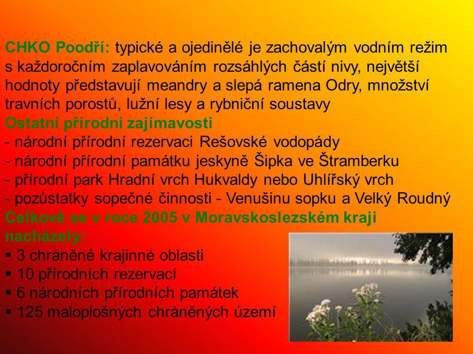 CHKO Poodří: typické a ojedinělé je zachovalým vodním režim s každoročním zaplavováním rozsáhlých částí nivy, největší hodnoty představují meandry a s