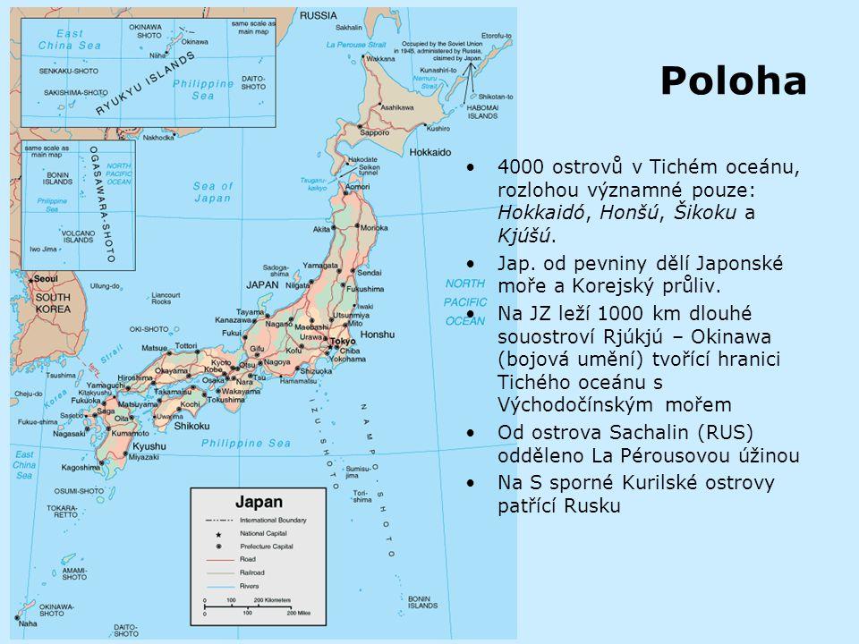 Obecně Originální název: Nihon Český název: Japonské císařství Rozloha: 377 835 km2 Hlavní město: Tokio (8 022 000 obyv.), další města: Jokohama 3,3 mil, Osaka 2,6 mil.