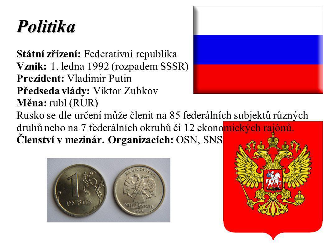 Politika Státní zřízení: Federativní republika Vznik: 1.