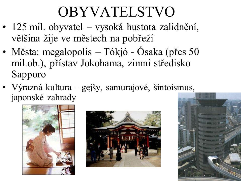OBYVATELSTVO 125 mil. obyvatel – vysoká hustota zalidnění, většina žije ve městech na pobřeží Města: megalopolis – Tókjó - Ósaka (přes 50 mil.ob.), př