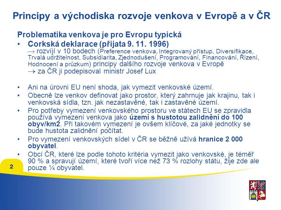 2 Principy a východiska rozvoje venkova v Evropě a v ČR Problematika venkova je pro Evropu typická Corkská deklarace (přijata 9.