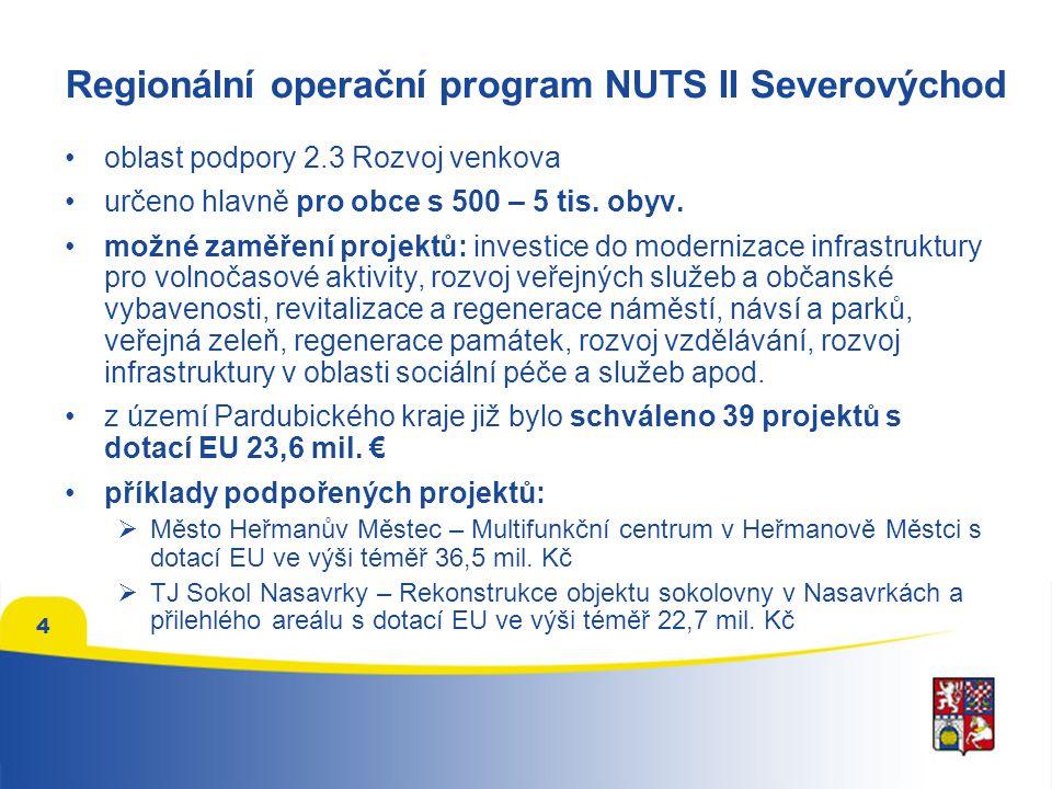 4 Regionální operační program NUTS II Severovýchod oblast podpory 2.3 Rozvoj venkova určeno hlavně pro obce s 500 – 5 tis.