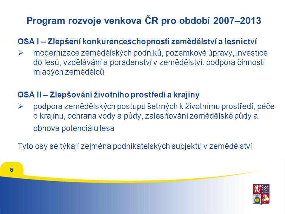 5 Program rozvoje venkova ČR pro období 2007–2013 OSA I – Zlepšení konkurenceschopnosti zemědělství a lesnictví  modernizace zemědělských podniků, pozemkové úpravy, investice do lesů, vzdělávání a poradenství v zemědělství, podpora činnosti mladých zemědělců OSA II – Zlepšování životního prostředí a krajiny  podpora zemědělských postupů šetrných k životnímu prostředí, péče o krajinu, ochrana vody a půdy, zalesňování zemědělské půdy a obnova potenciálu lesa Tyto osy se týkají zejména podnikatelských subjektů v zemědělství