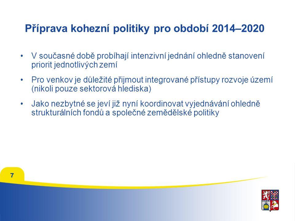 7 Příprava kohezní politiky pro období 2014–2020 V současné době probíhají intenzivní jednání ohledně stanovení priorit jednotlivých zemí Pro venkov je důležité přijmout integrované přístupy rozvoje území (nikoli pouze sektorová hlediska) Jako nezbytné se jeví již nyní koordinovat vyjednávání ohledně strukturálních fondů a společné zemědělské politiky