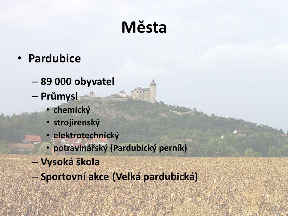 Města Pardubice – 89 000 obyvatel – Průmysl chemický strojírenský elektrotechnický potravinářský (Pardubický perník) – Vysoká škola – Sportovní akce (