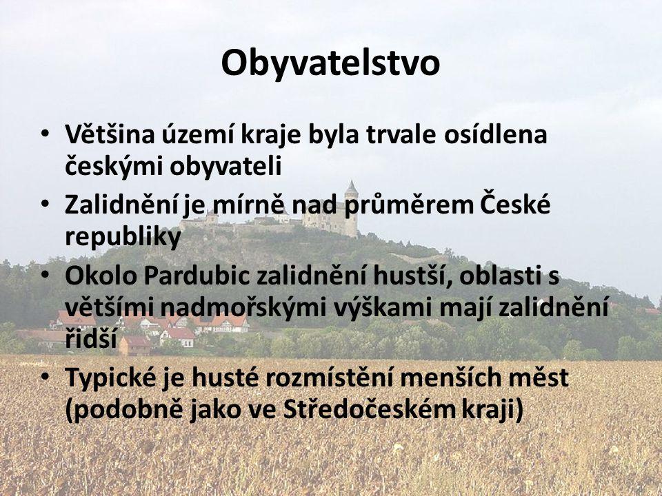 Obyvatelstvo Většina území kraje byla trvale osídlena českými obyvateli Zalidnění je mírně nad průměrem České republiky Okolo Pardubic zalidnění hustš