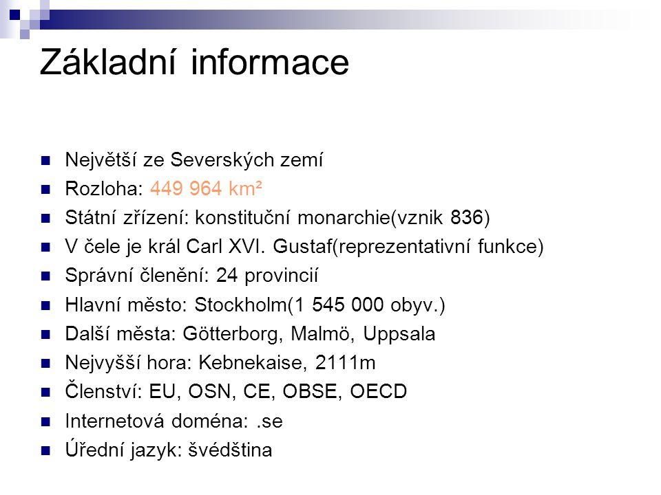 Základní informace Největší ze Severských zemí Rozloha: 449 964 km² Státní zřízení: konstituční monarchie(vznik 836) V čele je král Carl XVI. Gustaf(r